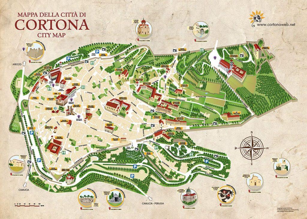 Cortona of Cortona | Map of the town and historic center of Cortona