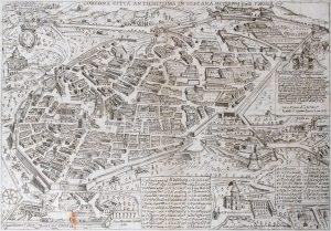 Antica cartina di Cortona