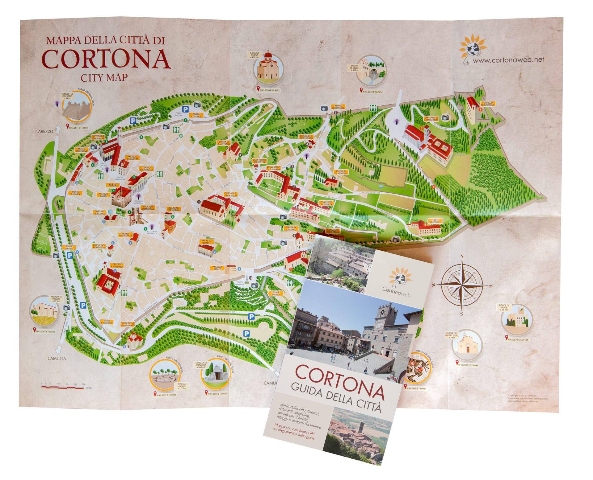 Guida e mappa della città di Cortona